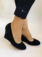 Жіночі модельні туфлі-човники на скелі.Blue Tempt. Натуральна замша. Чорний Розмір 39.40, фото 6