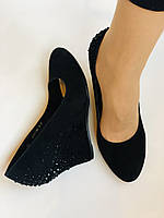 Жіночі модельні туфлі-човники на скелі.Blue Tempt. Натуральна замша. Чорний Розмір 39.40, фото 9