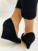 Жіночі модельні туфлі-човники на скелі.Blue Tempt. Натуральна замша. Чорний Розмір 39.40, фото 4