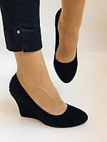 Жіночі модельні туфлі-човники на скелі.Blue Tempt. Натуральна замша. Чорний Розмір 39.40, фото 2
