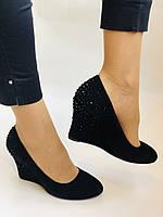 Жіночі модельні туфлі-човники на скелі.Blue Tempt. Натуральна замша. Чорний Розмір 39.40, фото 8
