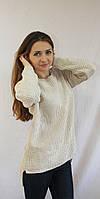Модный женская свитер в ажурную вязку