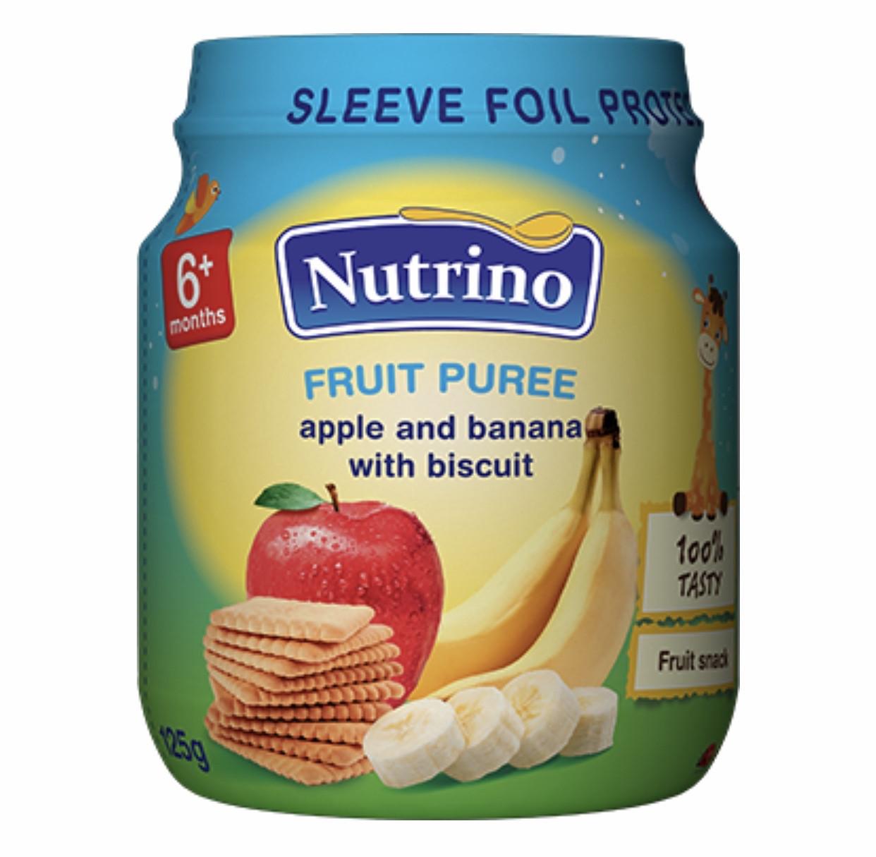 Nutrino Фруктовое пюре  яблоко,банан с печеньем  125 г с 6 месяцев