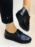 Стильні жіночі туфлі - сліпони. Натуральна шкіра. Темно-синій. Туреччина. р. 36, 37, 39 Vellena, фото 2