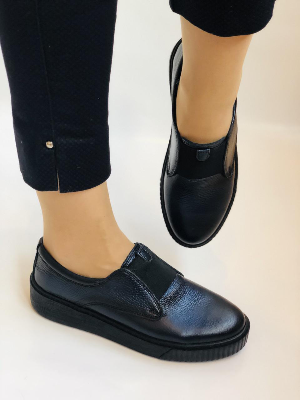 Стильні жіночі туфлі - сліпони. Натуральна шкіра. Темно-синій. Туреччина. р. 36, 37, 39 Vellena