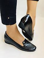 Хіт! Жіночі туфлі на низькій танкетці .Натуральна лакована шкіра.Туреччина. Висока якість 37,39, фото 2