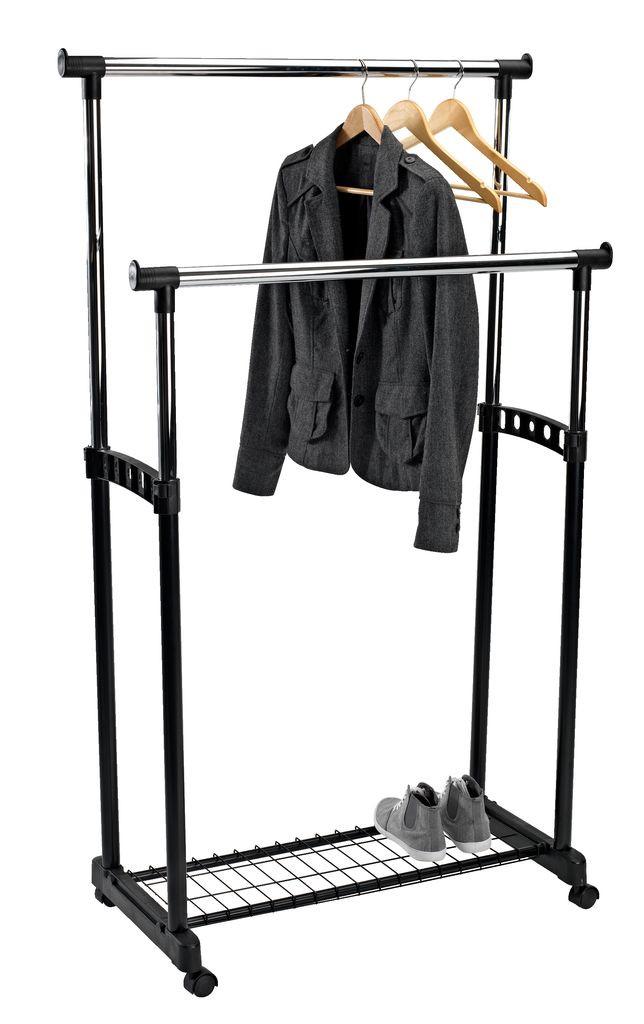 Напольная вешалка стойка для одежды двойная, с полкой для обуви