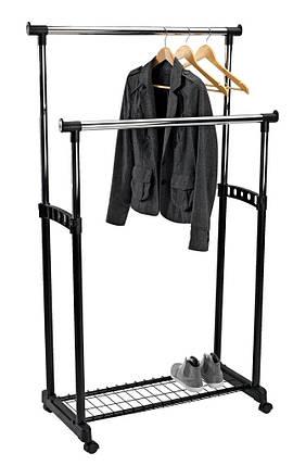 Напольная вешалка стойка для одежды двойная, с полкой для обуви, фото 2