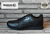 Мужские кожаные кроссовки Reebok Classik. Демисезонные черные кроссовки. Индонезия. Реплика.
