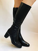 Женские осенне-весенние сапоги на среднем каблуке. Натуральная кожа.Высокое качество. Р 37.38.40 Polann, фото 9