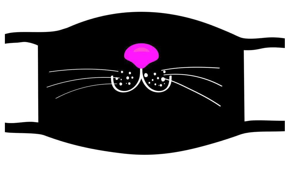Защитная маска многоразовая с рисунком лицо Нос котика с принтом ORIGINAL хлопок (Двухслойная)