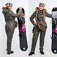 Женский горнолыжный комбинезон с натуральным мехом енота сумка в комплекте, фото 1