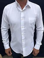 Чоловіча сорочка з довгим рукавом біла однотонна M-40