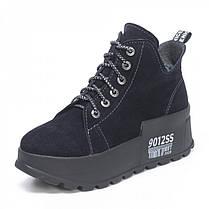 Замшеві черевики на шнурівці Сині Розміри 36-41, фото 3