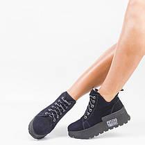 Замшеві черевики на шнурівці Сині Розміри 36-41, фото 2