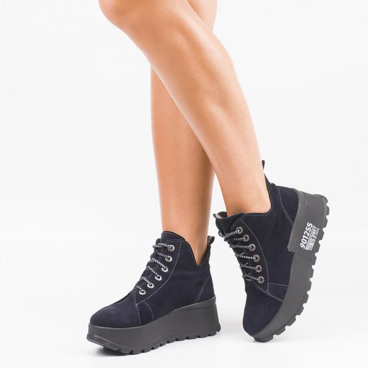 Замшеві черевики на шнурівці Сині Розміри 36-41
