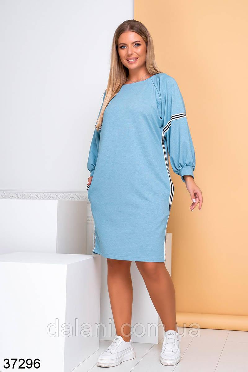 Женское повседневное голубое платье батал