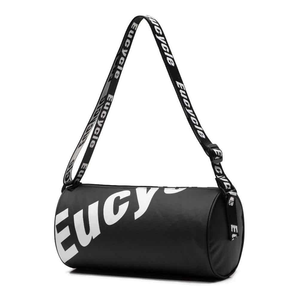 Маленькая черная спортивная сумка круглая женская, мужская, детская с длинным регулируемым ремешком