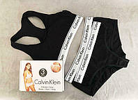 Комплект Calvin Klein жіночий 3 в 1 Чорний - (Шортики + Стрінги + Топік) Репліка!, фото 3