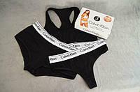 Комплект Calvin Klein жіночий 3 в 1 Чорний - (Шортики + Стрінги + Топік) Репліка!, фото 5