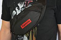 Практичная бананка, барсетка, поясная сумка Supreme | Черная, фото 3