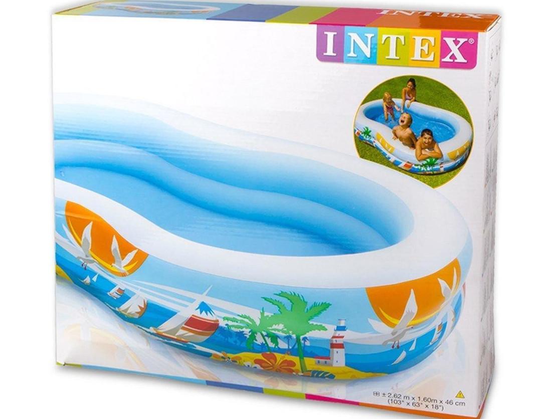 Бассейн Детский Надувной Райская Лагуна Intex 56490 262x160 см sale