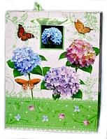 Подарочный пакет с цветами для женщин 25-32-11 см