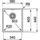 Гранитная мойка Franke Kubus KBG 110-34 фрагранит черный оникс 38*44 см, фото 2