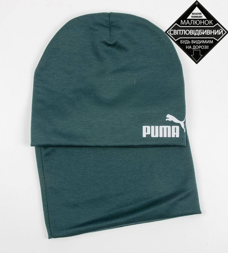 Комплект молодёжный светоотражющий принт PUMA (20208), Зеленый