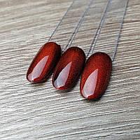 Хрустальный гель лак для ногтей кошачий глаз красный