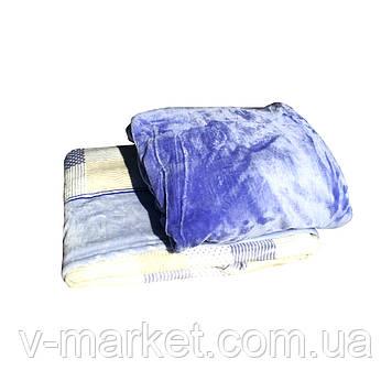 Набір простирадло на гумці (105/200 см) з пледом (180/260 см), тканина мікрофібра