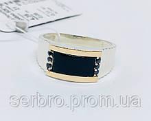 Печатка с  золотом и ониксом в серебре Девид