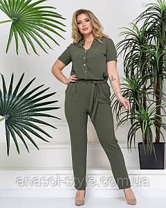 Женский летний комбинезон Майлен узкие брюки больших размеров хаки