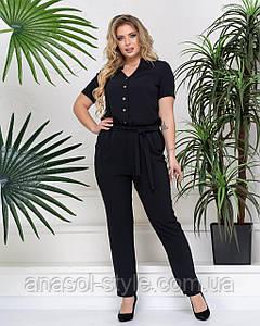 Женский летний комбинезон Майлен узкие брюки больших размеров чёрный