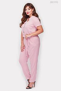 Женский летний комбинезон Майлен узкие брюки больших размеров фрезовый
