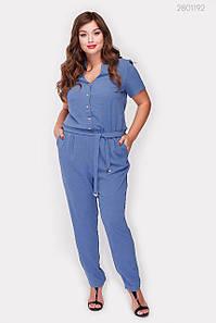 Женский летний комбинезон Майлен узкие брюки больших размеров джинсовый