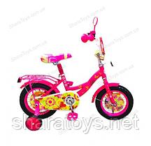 """Велосипед розовый 2-х колесный 12"""" со страховочными колесами"""