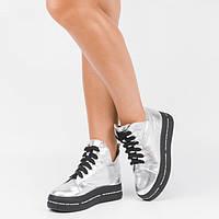 Высокие кожаные женские ботинки на платформе Серебристые Размеры 36-41