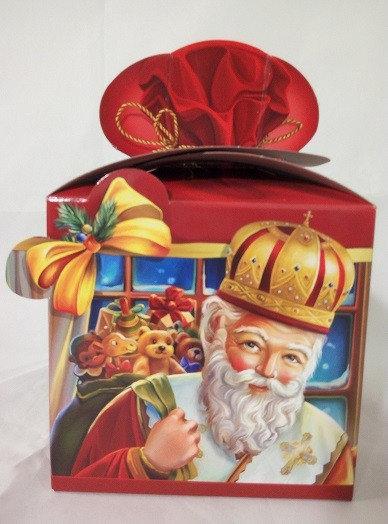 Картонная упаковка новогодняя Святой Николай мелким оптом, на вес до 700г