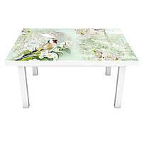 Виниловая 3Д наклейка на стол Птицы в саду (ПВХ пленка самоклеющаяся) цветы Зеленый 600*1200 мм