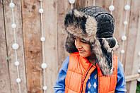 Детская шапка зимняя для мальчиков ФОРТ (черный) оптом размер 52-54-56