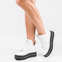 Высокие кожаные женские ботинки на платформе Белые Размеры 36-41