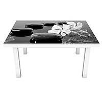 Виниловая 3Д наклейка на стол Глянцевые Камни (ПВХ пленка самоклеющаяся) капли цветы Текстура Серый 600*1200 мм
