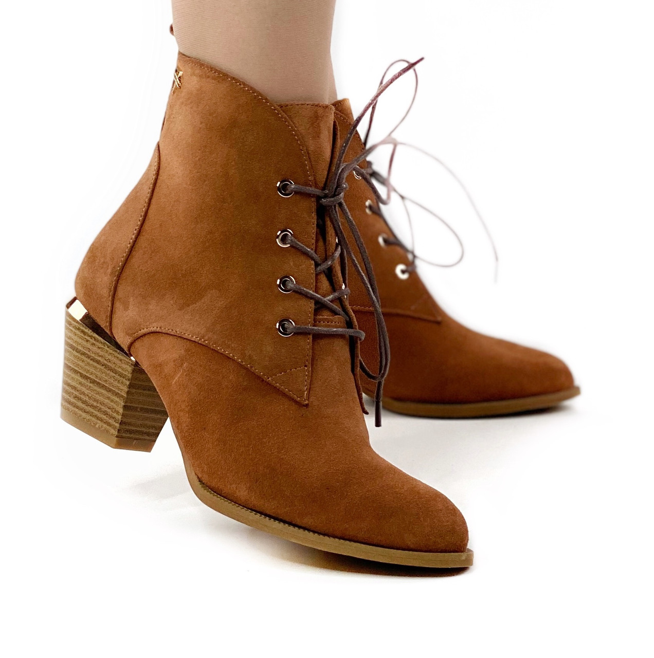 Черевики жіночі замшеві руді на шнурках і невисокому каблуці MORENTO (весна-осінь)