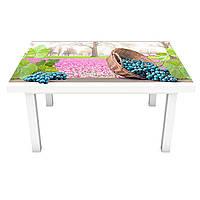 Виниловая 3Д наклейка на стол Синий виноград (ПВХ пленка самоклеющаяся) поле Природа Розовый 600*1200 мм