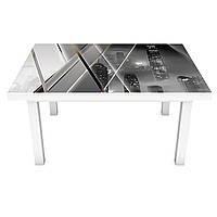 Виниловая 3Д наклейка на стол Зеркальный Город (ПВХ пленка самоклеющаяся) Абстракция Серый 600*1200 мм