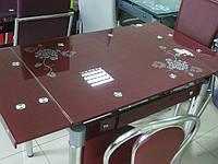 Стол стеклянный обеденный В 179-35. Цвет бордо, фиолет., фото 1