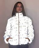 Куртка женская светоотражающая из рефлективной ткани с принтом Буква серебряного цвета, фото 6