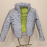 Куртка женская светоотражающая из рефлективной ткани с принтом Буква серебряного цвета, фото 8