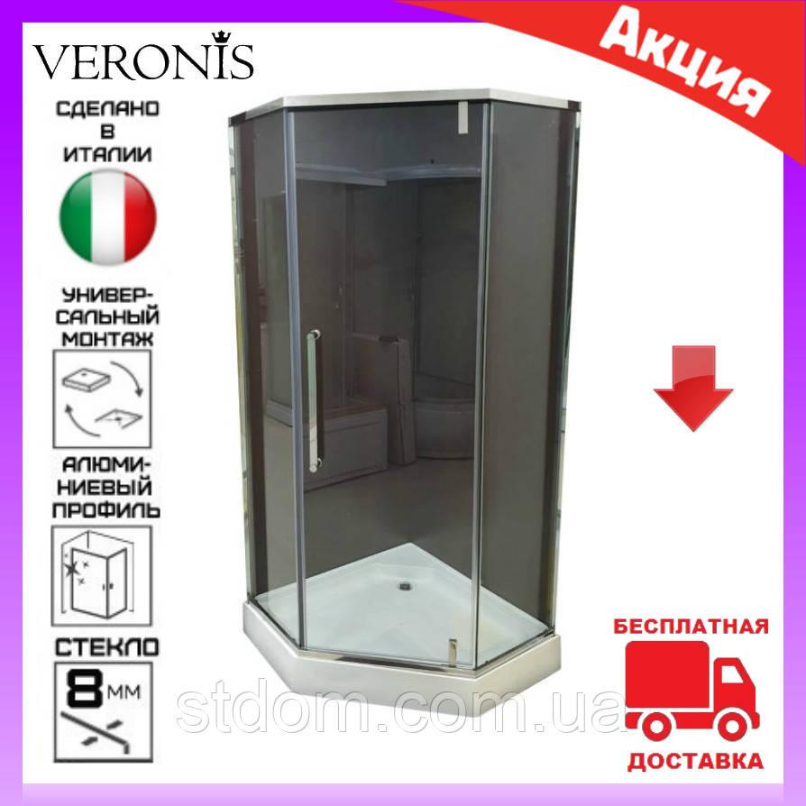 Пятиугольная душевая кабина 90х90 см дверь распашная Veronis KN-16-00 стекло прозрачное